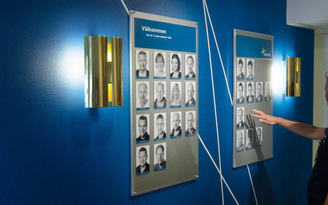 Presentationstavla för personalporträtt
